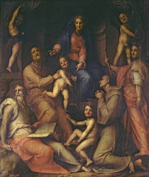 The Holy Family with Saints (oil on canvas)