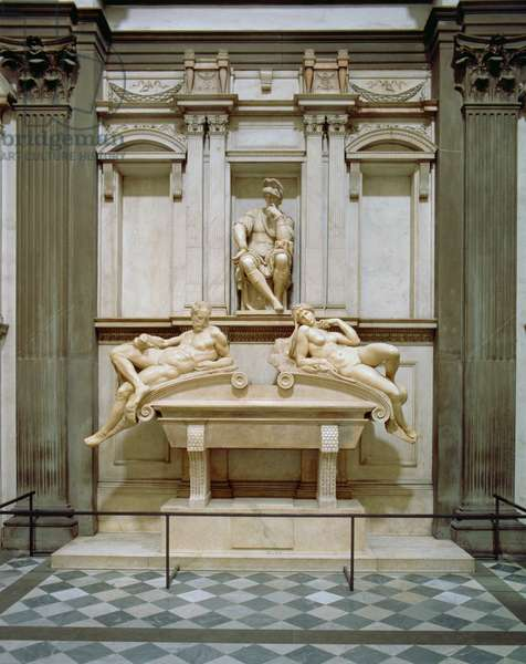 Dusk and Dawn from the Tomb of Lorenzo de Medici, designed 1521, carved 1524-34 (marble)