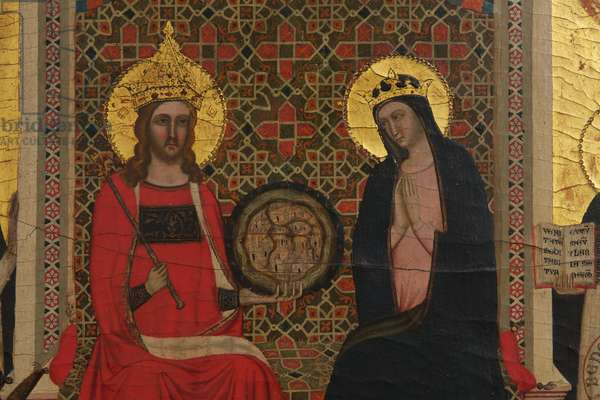 Detail of the Virgin, Christ and 17 Saints (tempera on panel)