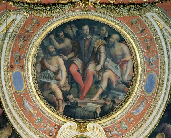 Cosimo I and His Artists, from the Sala di Cosimo I (fresco) (see also 274607)