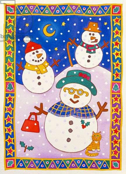 Snowmen in the Snow (w/c)