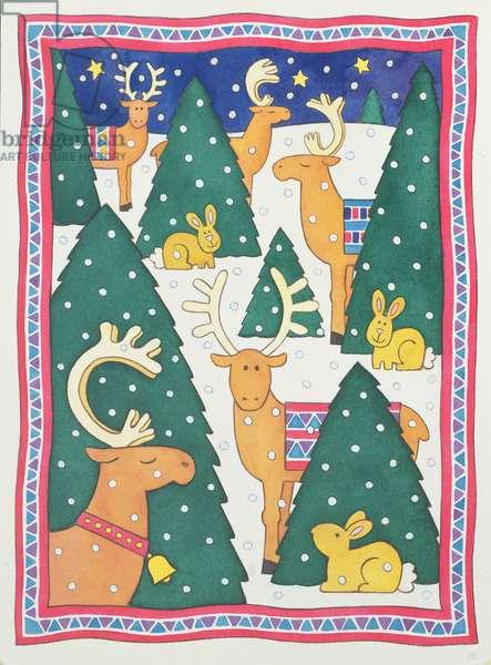 Reindeers around the Christmas Trees