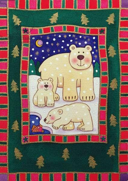 Polar Bear and Cubs (w/c)
