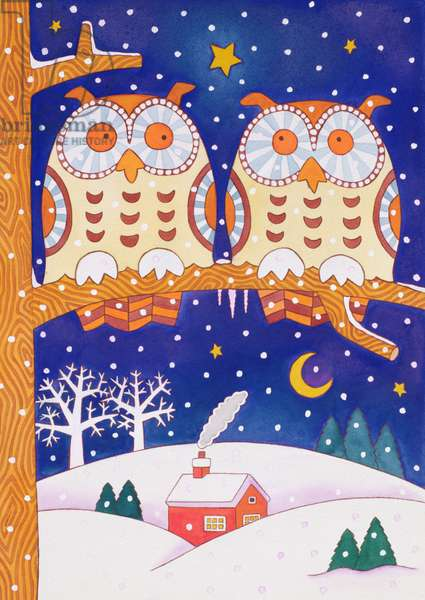 Two owls on a branch (w/c)