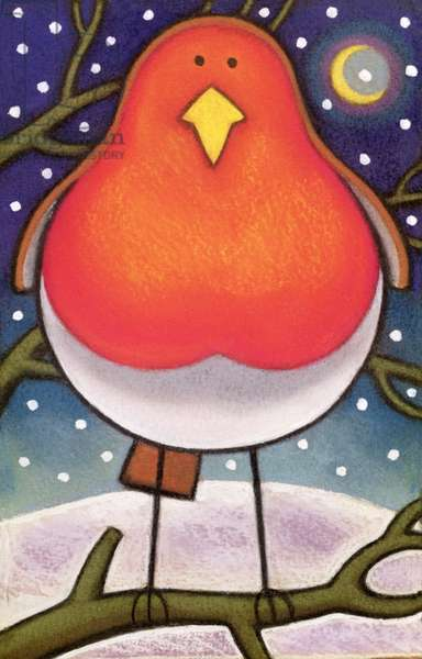 Christmas Robin, 1997 (pastel on paper)