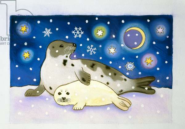 Cosmic Seals, 1997 (pastel and gouache on paper)