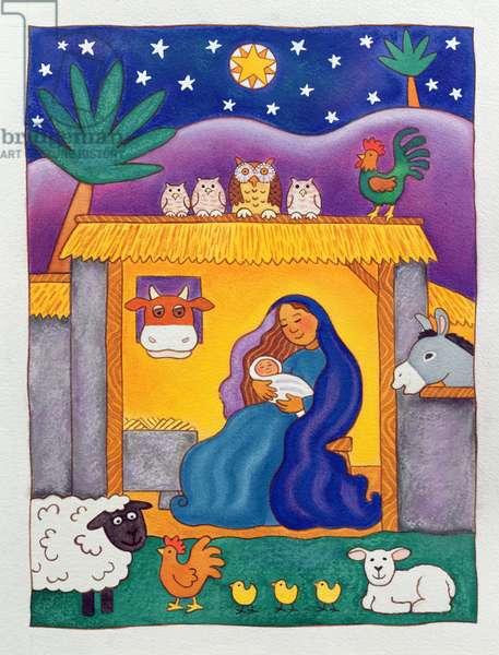 A Farmyard Nativity, 1996 (w/c)