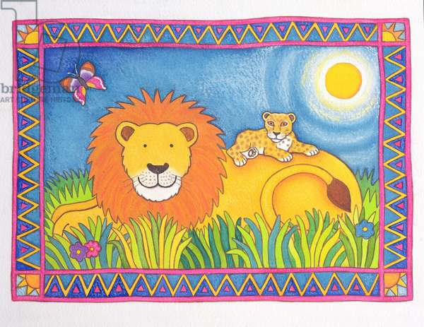 Lion in the Sun, 1997 (w/c and pastel on paper)