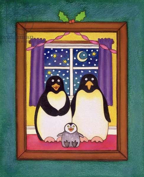 Penguin Family Christmas, 1997 (pastel on paper)