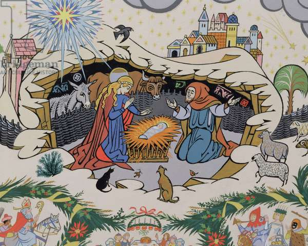 """Christ was born on Christmas Day, wreathe the holly, twine the bay"": detail of the Nativity scene, 1981 (w/c) (detail of 82179)"