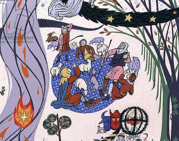 """Christ was born on Christmas Day, wreathe the holly, twine the bay"": detail of the shepherds with their flock, 1981 (w/c) (detail of 82179)"
