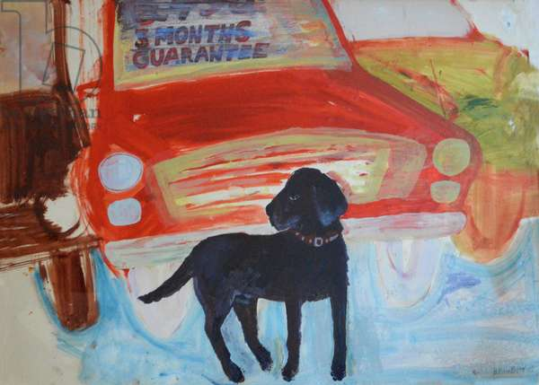 Rex at the Used Car Lot - Three months guarantee (gouache on paper)