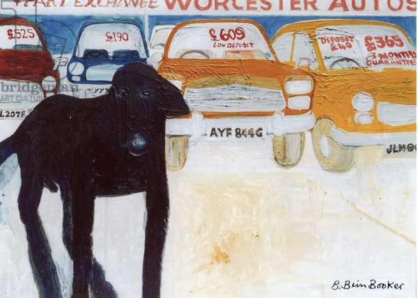 Rex at Worcester Autos, 'Part Exchange' (oil on canvas)