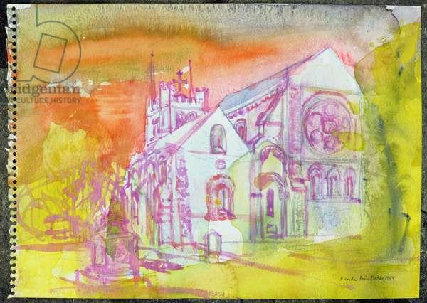 Waltham Abbey (w/c on paper)