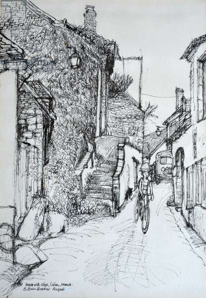 House with steps, Culen, France (pen & ink on paper)