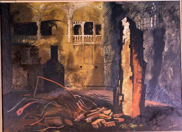 Blitzed Council Chamber, House of Commons, 1941 (oil)