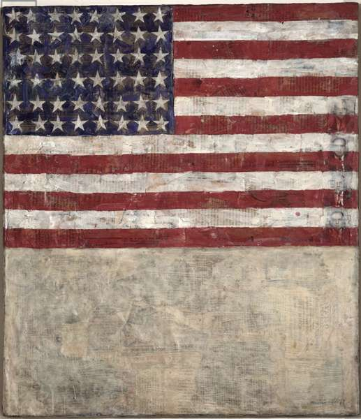 Flag Above White with Collage, 1954 (encaustic on canvas)