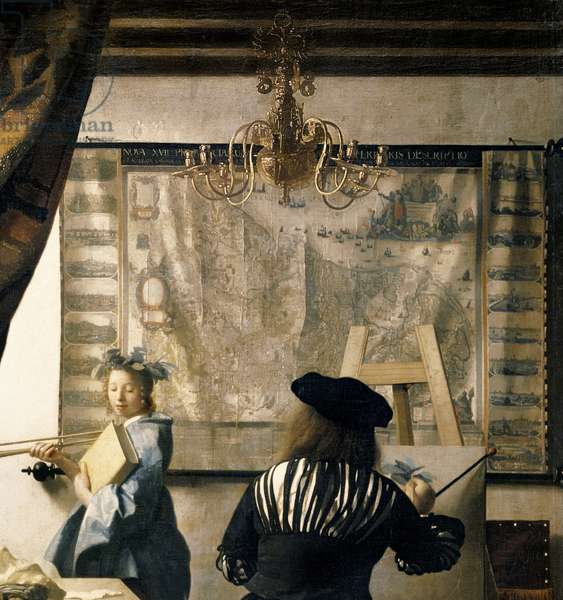 The Artist's Studio, c.1665-66 (oil on canvas) (detail of 408)