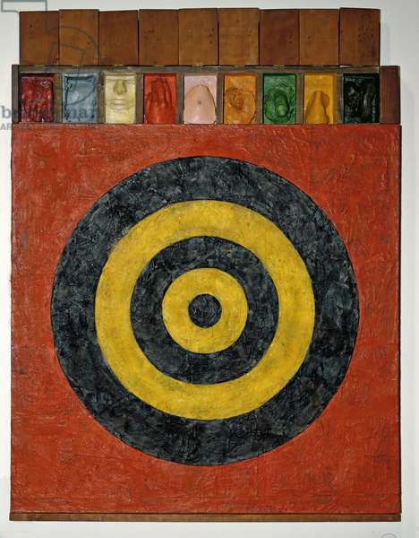 Target with Plaster Casts, 1955 (encaustic and collage on canvas with objects)