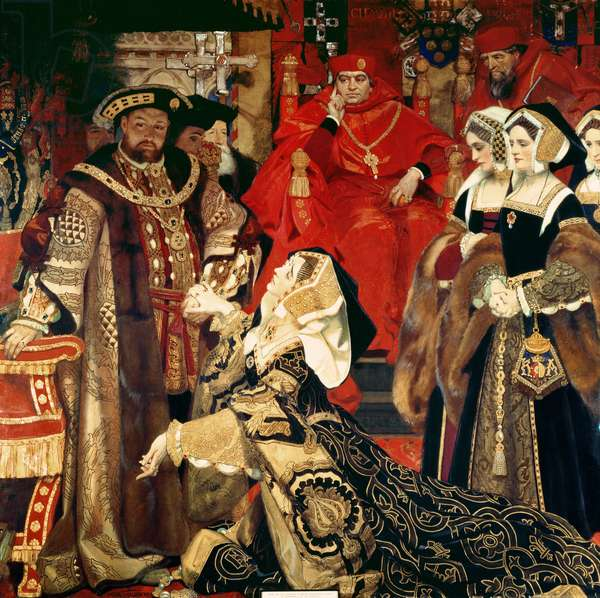 Henry VIII and Catherine of Aragon before the Papal Legates at Blackfriars in 1529, 1910 (oil on canvas)