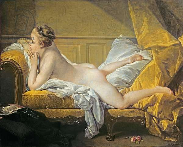 Reclining Nude (Miss O'Murphy) (oil on canvas) (also see 267698)