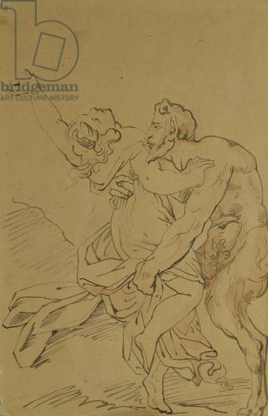 Nymph and Satyr (pencil on paper)