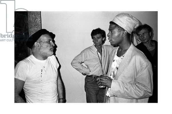 Jean-Michel Basquiat and Armand Arman, Area, New York, 1985 (b/w photo)