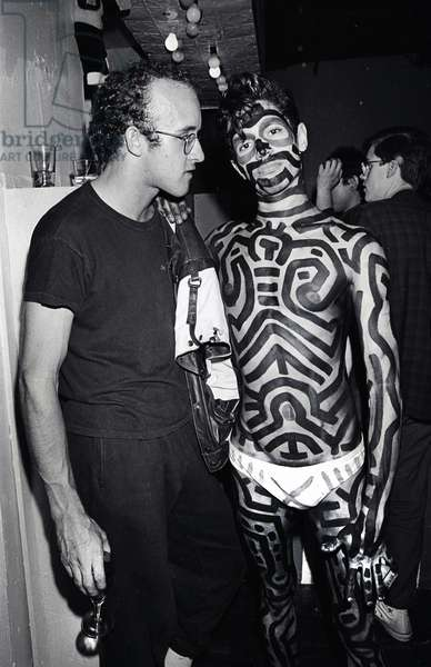 Keith Haring and painted boy, New York, 1984 (b/w photo)