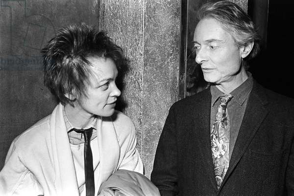 Laurie Anderson and Roy Lichtenstein at Area, New York, 1984 (b/w photo)