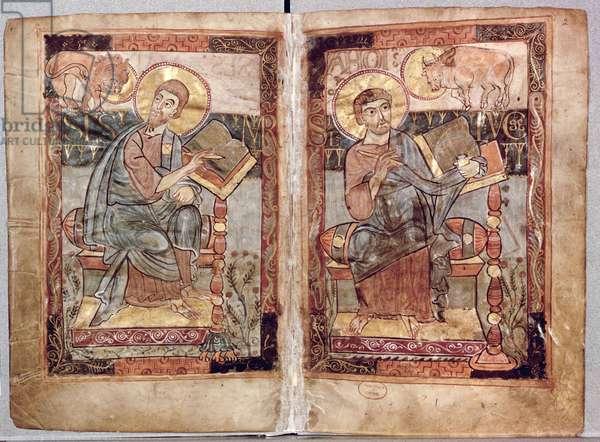 NAL 1203 fol.1v-2 St. Mark and St. Luke, from the Godescale Gospel, c.1781-783 (vellum)
