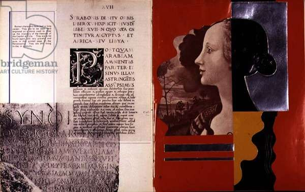 Double page spread including examples of Roman type and profile portrait, from `Mise en Page`, written, designed and produced by Albert Tolmer, pub. by Studio Editions, 1931