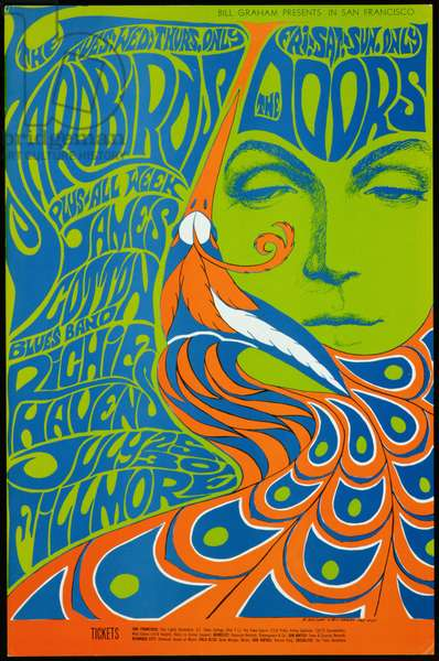 Rock concert poster for The Yardbirds, The Doors and others at the Fillmore Auditorium in San Francisco, July 25-30, 1967