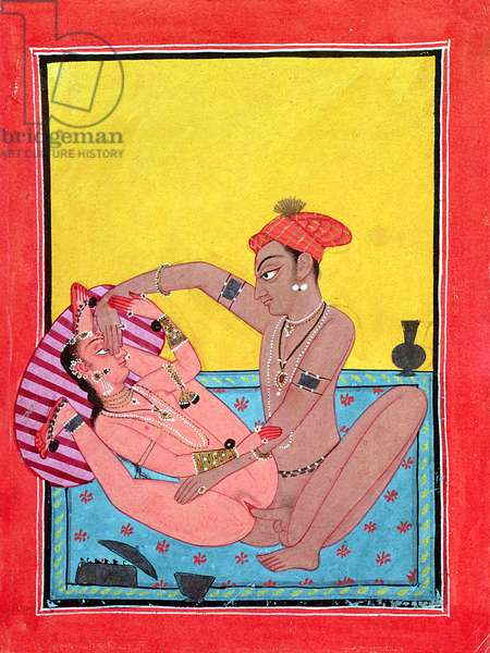 Lovers in extravagantly open posture, not mentioned in the 'Kama Sutra', Mankot, Punjab, mid-18th century (gouache on paper)