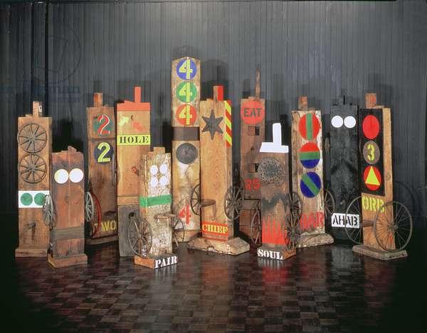 Mixed media sculptures, 1960-2 (wood & metal)