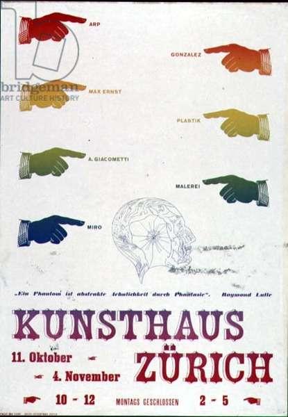 `Kunsthaus Zurich`, advertisement for an exhibition, 11 October-4th November, 1934