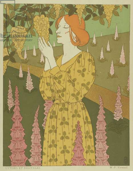 Cytises and Digitales - Woman with Wisteria and Foxgloves (colour litho)