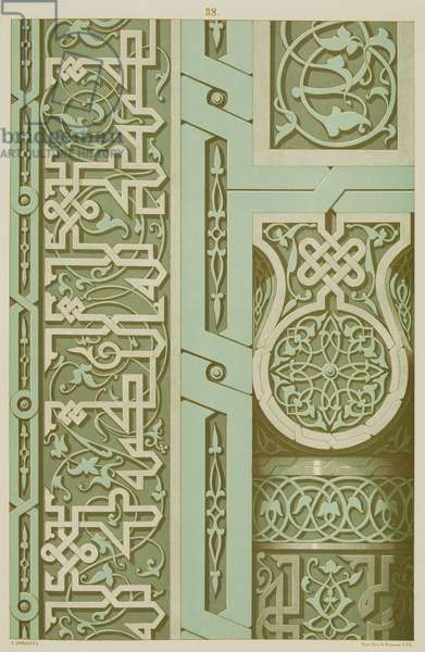 Details of moulded ceramic decoration by from the Tomb of Knadji-Toglou, Samarkand by N. Simakoff , plate 38 from `The Art of Central Asia`, 1879-83