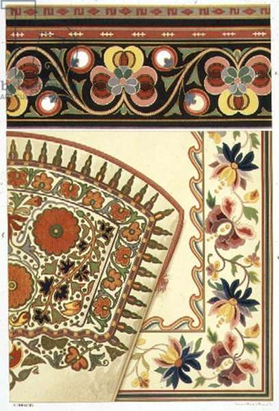 Details of Central Asian silk embroideries, from `The Art of Central Asia',1879-83