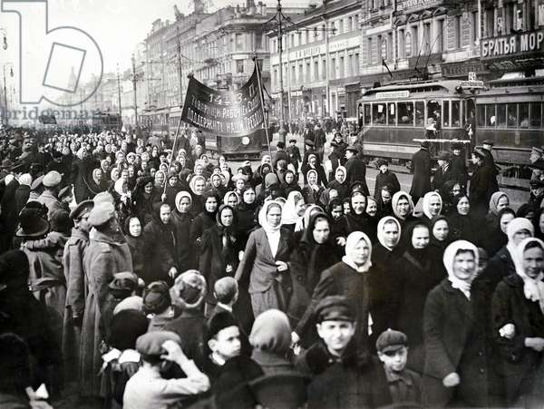 Women in a demonstration on the Nevsky Prospekt, St. Petersburg, 1917 (b/w photo)