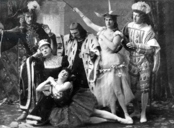 A scene from the first performance of Tchaikovsky's ballet 'The Sleeping Beauty' at the Mariinsky Theatre, with Karlotta Brianza in the part of Aurora, 1890 (b/w photo)