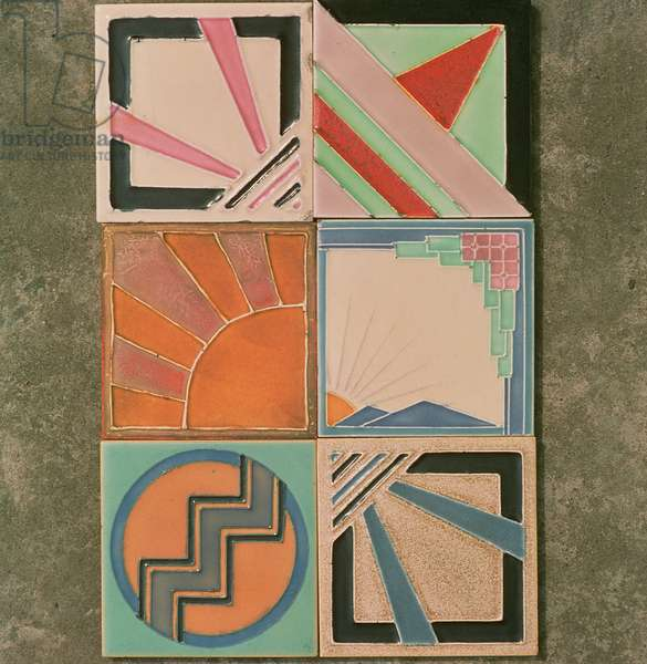 Sun motif ceramic tile designs, by Maw and Company, c.1930