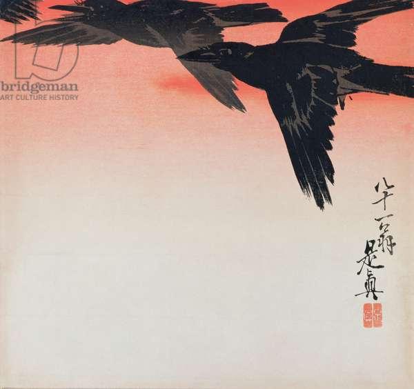 Crows in flight in a red sky (woodcut)