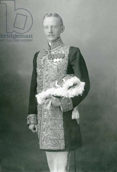 A gentleman-in-attendance in full dress uniform at the Romanov Court, 1911 (b/w photo)