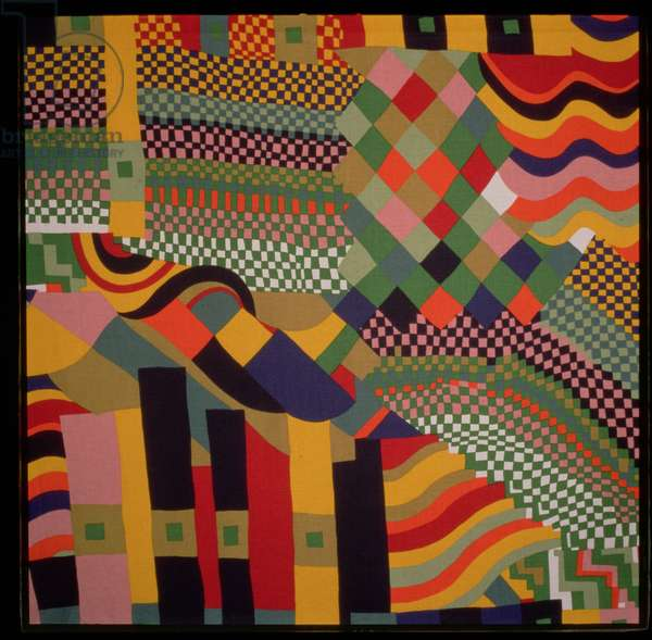 """""""Bauhaus"""", furnishing fabric design, by Susan Collier and Sarah Campbell, for Liberty and Co., London, 1972"""