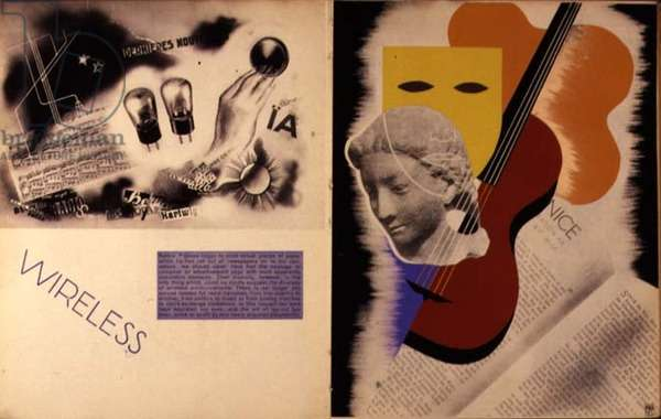 Double page spread including advertisement for Wireless, from `Mise en Page`, written, designed and produced by Albert Tolmer, pub. by Studio Editions, 1931