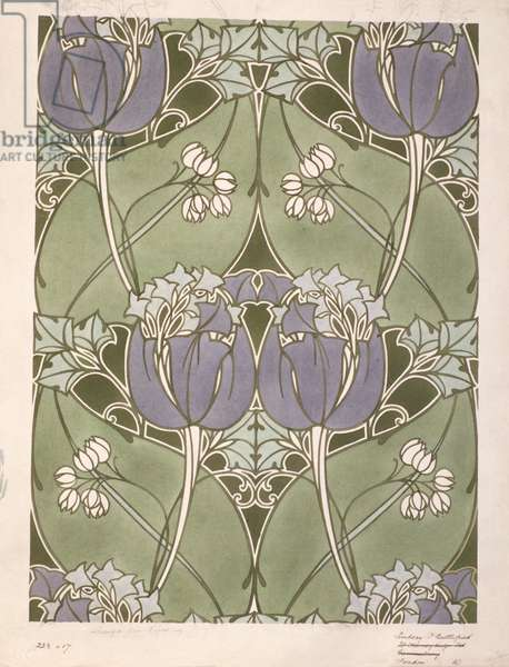 Design for a floral woven textile by Lindsay Phillip Butterfield (1869-1948) c.1905 (w/c)