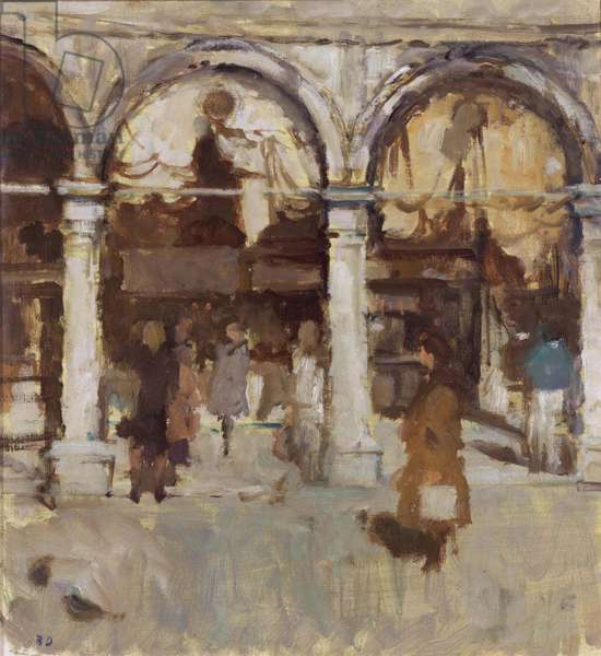 The Piazza Arches and Curtains, 1989 (oil on canvas laid on board)