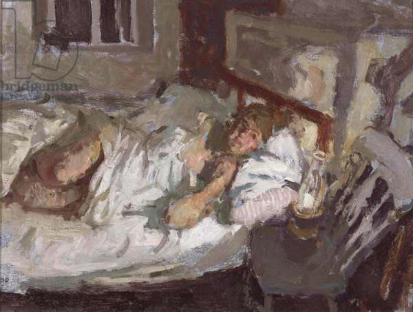 A Girl Lying in Bed, 1963 (oil on board)