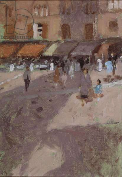 Siena, The Campo, Morning, 1971 (oil on canvas laid on board)