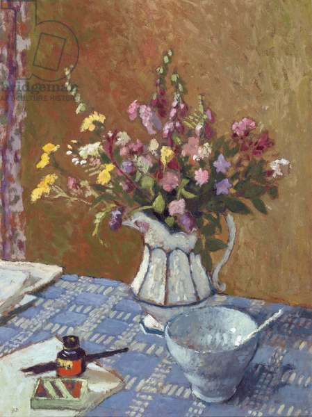Still Life of Summer Flowers in a Jug with a Bowl, 1971 (oil on board)